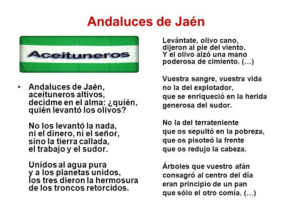 Andaluces de Jaén Andaluces de Jaén, aceituneros altivos, decidme en el alma: ¿quién, quién levantó los olivos? No los levantó la nada, ni el dinero,