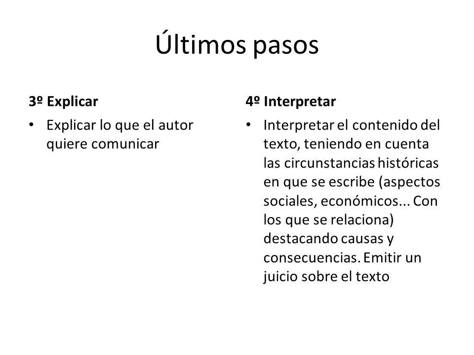 Últimos pasos 3º Explicar Explicar lo que el autor quiere comunicar 4º Interpretar Interpretar el contenido del texto, teniendo en cuenta las circunstancias históricas en que se escribe (aspectos sociales, económicos...