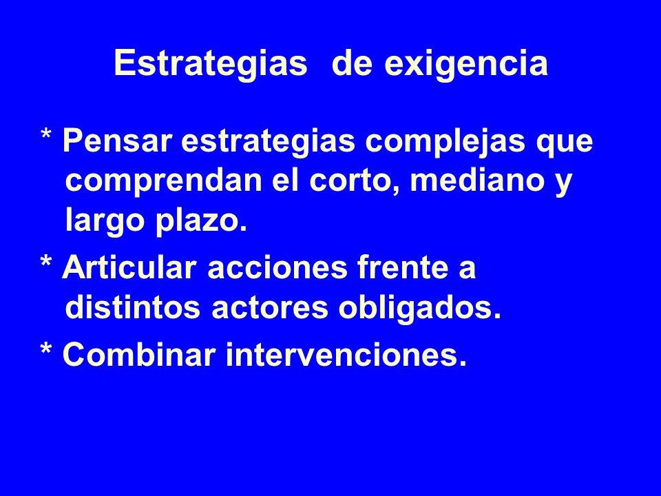 Estrategias de exigencia * Pensar estrategias complejas que comprendan el corto, mediano y largo plazo. * Articular acciones frente a distintos actore