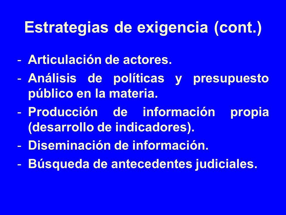 Estrategias de exigencia (cont.) -Articulación de actores. -Análisis de políticas y presupuesto público en la materia. -Producción de información prop