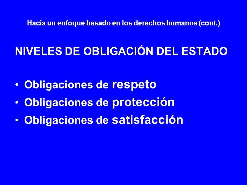 Hacia un enfoque basado en los derechos humanos (cont.) Estándares internacionales u obligaciones genéricas de los Estados en materia de DESC Prohibición de toda discriminación.