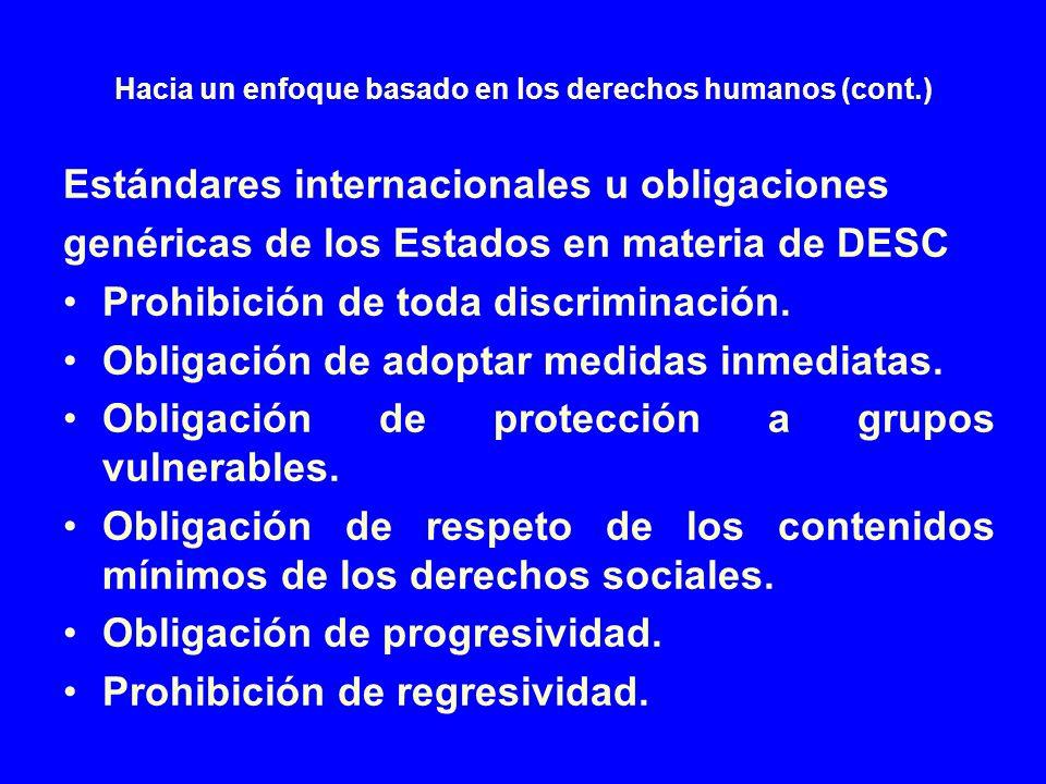 Hacia un enfoque basado en los derechos humanos (cont.) Estándares internacionales u obligaciones genéricas de los Estados en materia de DESC Prohibic