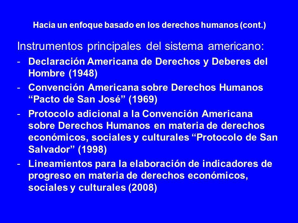 Hacia un enfoque basado en los derechos humanos (cont.) Instrumentos principales del sistema americano: -Declaración Americana de Derechos y Deberes d