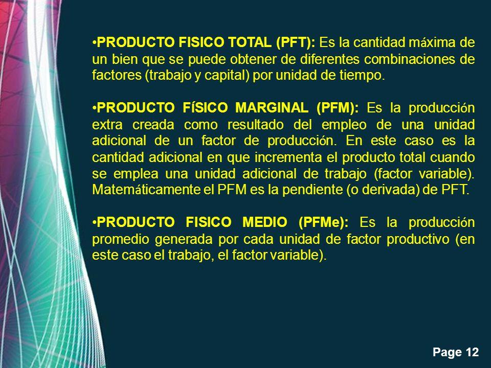Free Powerpoint Templates Page 12 PRODUCTO FISICO TOTAL (PFT): Es la cantidad m á xima de un bien que se puede obtener de diferentes combinaciones de
