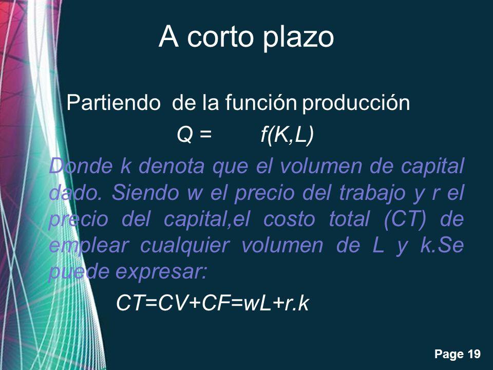 Free Powerpoint Templates Page 19 A corto plazo Partiendo de la función producción Q = f(K,L) Donde k denota que el volumen de capital dado. Siendo w