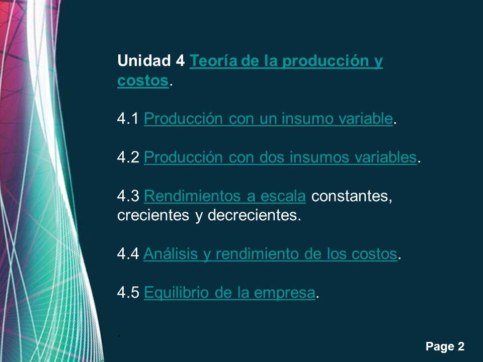 Free Powerpoint Templates Page 2 Unidad 4 Teoría de la producción y costos.Teoría de la producción y costos 4.1 Producción con un insumo variable.Prod