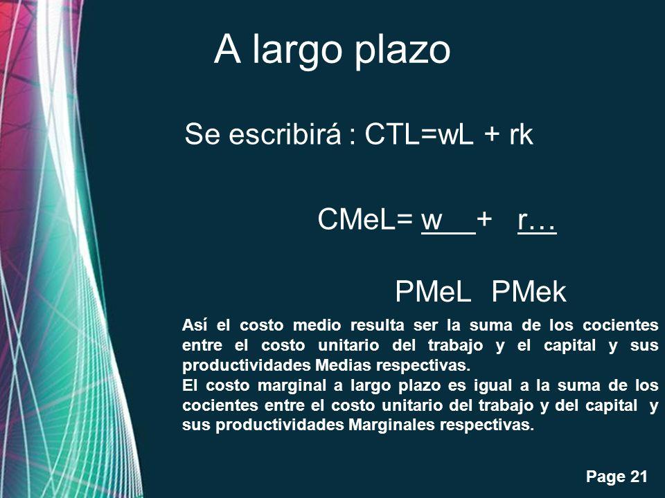 Free Powerpoint Templates Page 21 A largo plazo Se escribirá : CTL=wL + rk CMeL= w + r… PMek PMeL Así el costo medio resulta ser la suma de los cocien