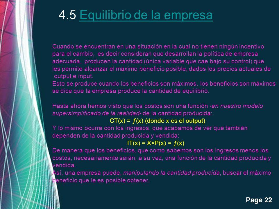 Free Powerpoint Templates Page 22 4.5 Equilibrio de la empresaEquilibrio de la empresa Cuando se encuentran en una situación en la cual no tienen ning