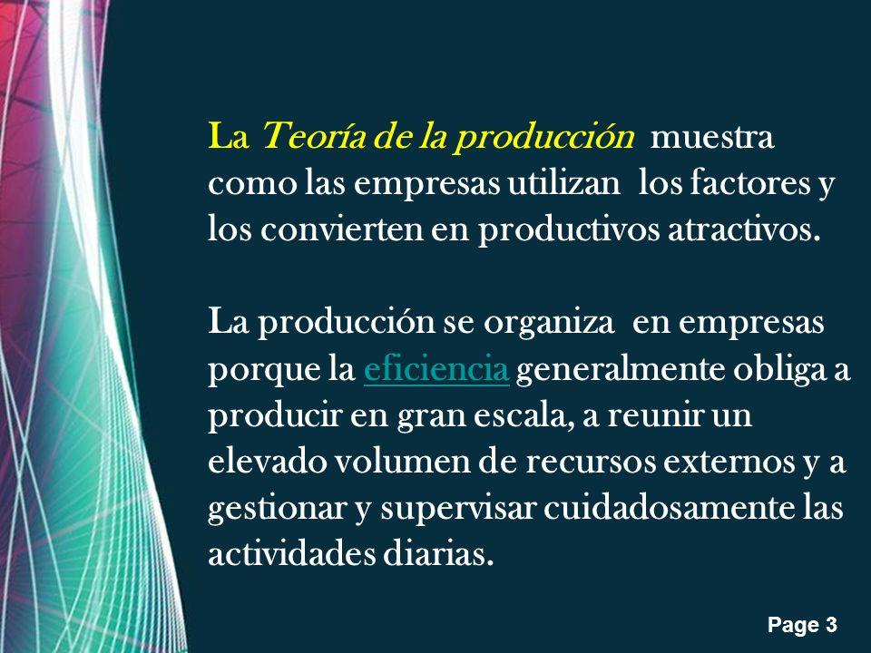 Free Powerpoint Templates Page 4 Una empresa produce bienes combinando los factores de producción: El objetivo de la empresa es maximizar $, o sea lograr la máxima diferencia positiva entre el ingreso total y el costo total.