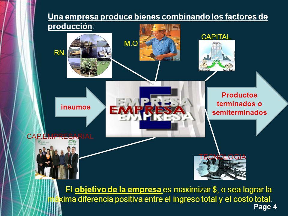 Free Powerpoint Templates Page 4 Una empresa produce bienes combinando los factores de producción: El objetivo de la empresa es maximizar $, o sea log