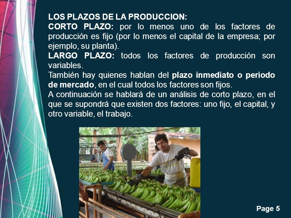 Free Powerpoint Templates Page 5 LOS PLAZOS DE LA PRODUCCION: CORTO PLAZO: por lo menos uno de los factores de producción es fijo (por lo menos el cap