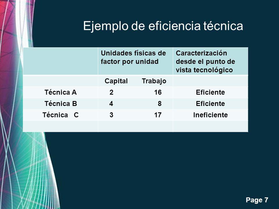 Free Powerpoint Templates Page 8 Unidades fisicas de factor Costo de capital(*) Costo del trabajo Costo total Capital Trabajo Técnica A2 16100 (2x50) 160 (16x10) 260 Técnica B4 8200 (4x50) 80 (8x10) 280 Eficiencia Económica- Precios iniciales :Precio del capital $50 pesos al día.Precio del trabajo:$10 pesos al día.