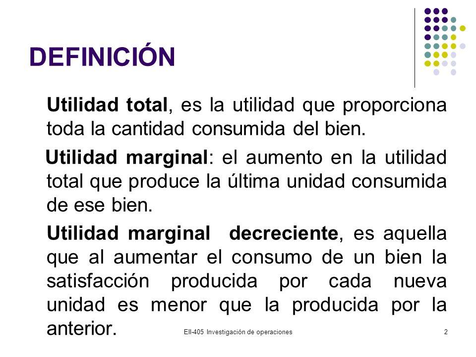 DEFINICIÓN Utilidad total, es la utilidad que proporciona toda la cantidad consumida del bien. Utilidad marginal: el aumento en la utilidad total que