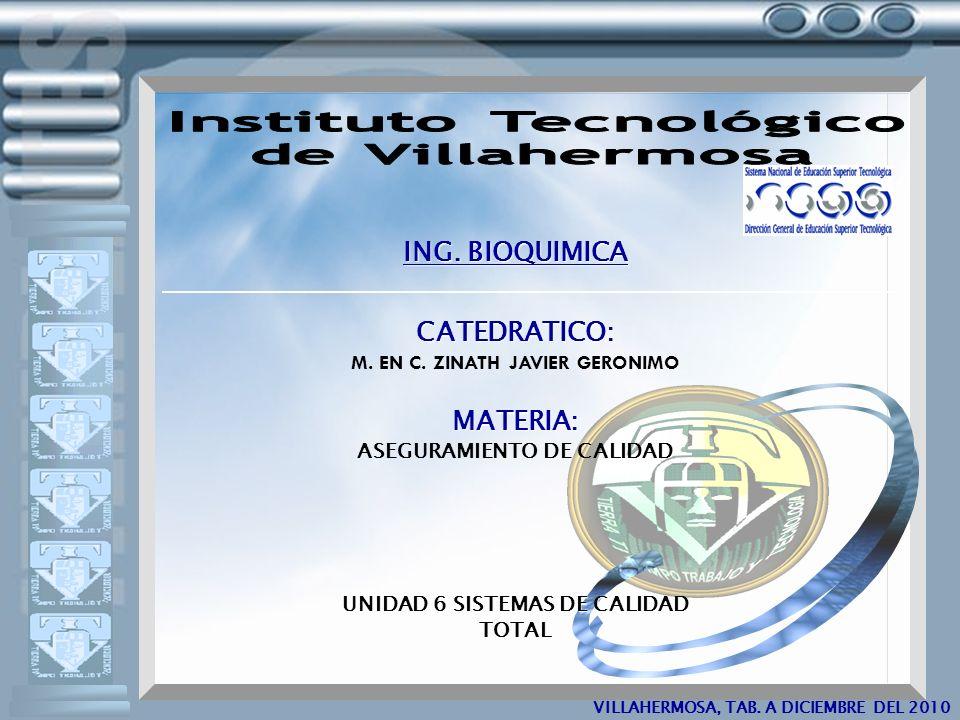 VILLAHERMOSA, TAB.A 23 DE NOVIEMBRE DEL 2009 UNIDAD 6 Sistemas de calidad total.