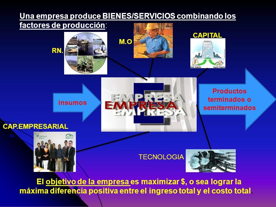 Una empresa produce BIENES/SERVICIOS combinando los factores de producción: El objetivo de la empresa es maximizar $, o sea lograr la máxima diferenci