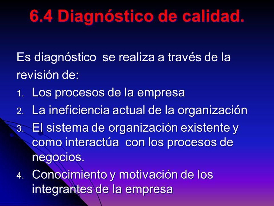 Es diagnóstico se realiza a través de la revisión de: 1. Los procesos de la empresa 2. La ineficiencia actual de la organización 3. El sistema de orga
