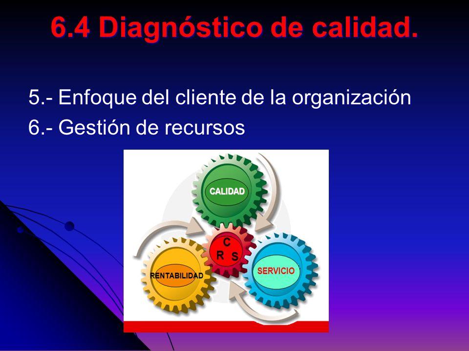 5.- Enfoque del cliente de la organización 6.- Gestión de recursos 6.4 Diagnóstico de calidad.