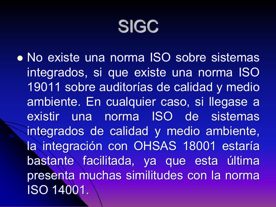 SIGC No existe una norma ISO sobre sistemas integrados, si que existe una norma ISO 19011 sobre auditorías de calidad y medio ambiente. En cualquier c