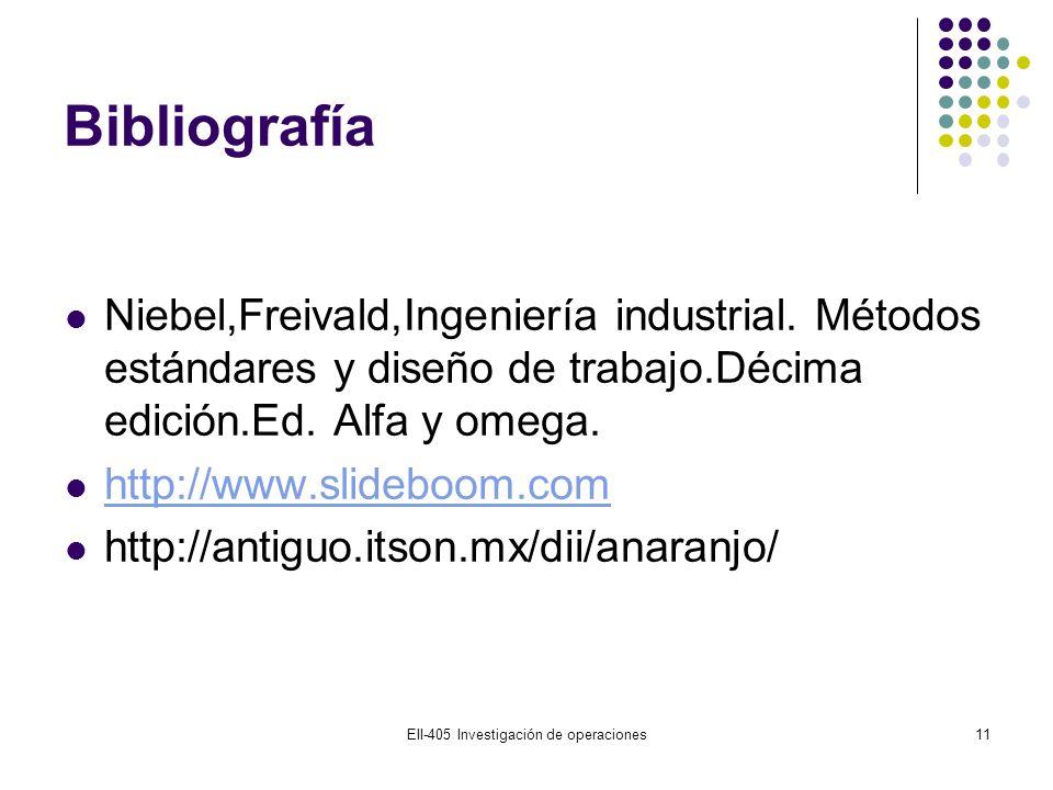Bibliografía Niebel,Freivald,Ingeniería industrial. Métodos estándares y diseño de trabajo.Décima edición.Ed. Alfa y omega. http://www.slideboom.com h