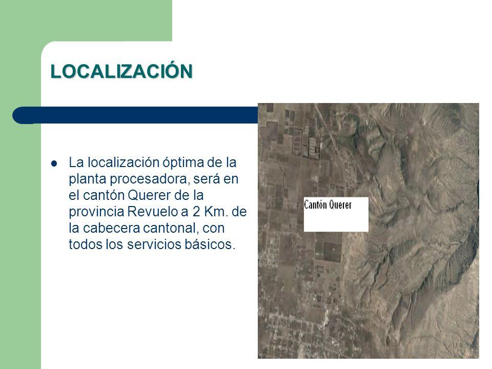 LOCALIZACIÓN La localización óptima de la planta procesadora, será en el cantón Querer de la provincia Revuelo a 2 Km. de la cabecera cantonal, con to