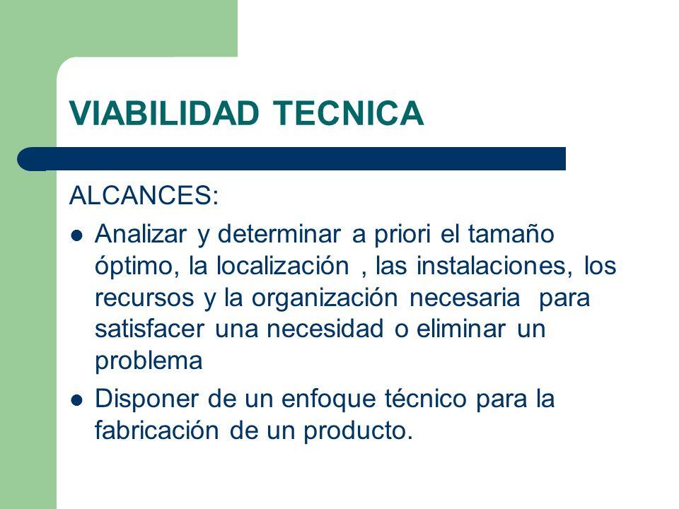 VIABILIDAD TECNICA Determinar la función de producción óptima eficiente y eficaz.