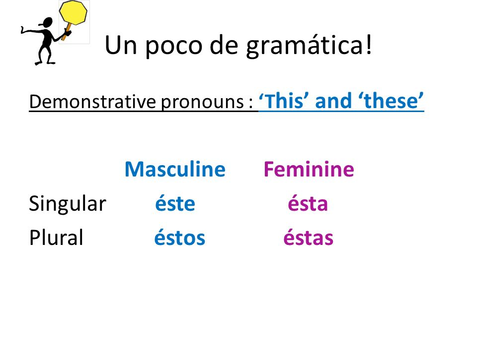 Un poco de gramática! Demonstrative pronouns : T his and these Masculine Feminine Singular éste ésta Plural éstos éstas