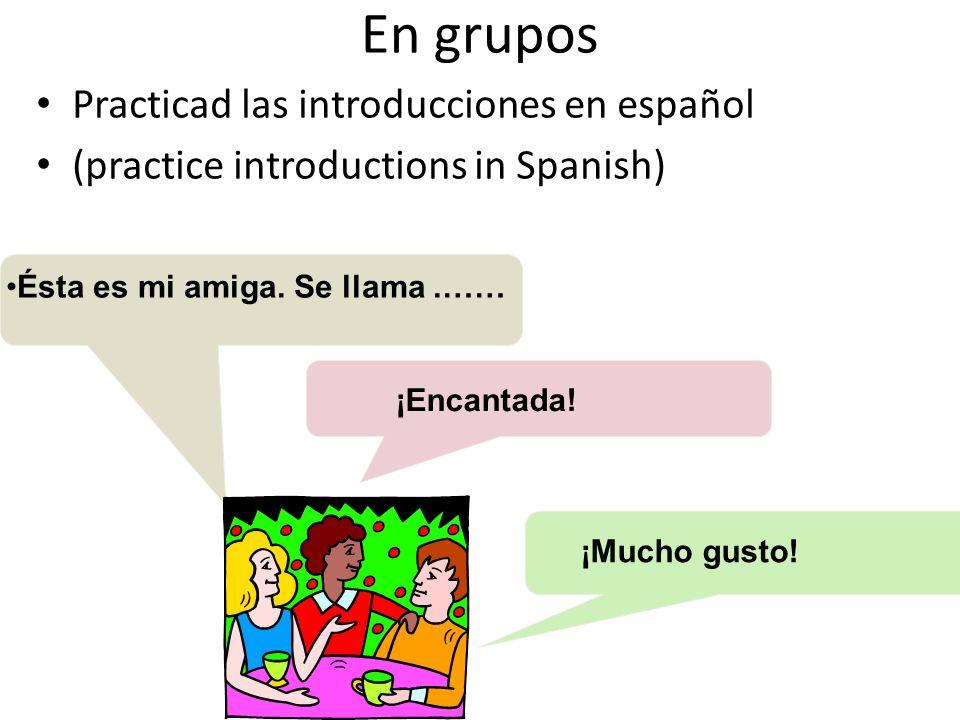 En grupos Practicad las introducciones en español (practice introductions in Spanish) Ésta es mi amiga.