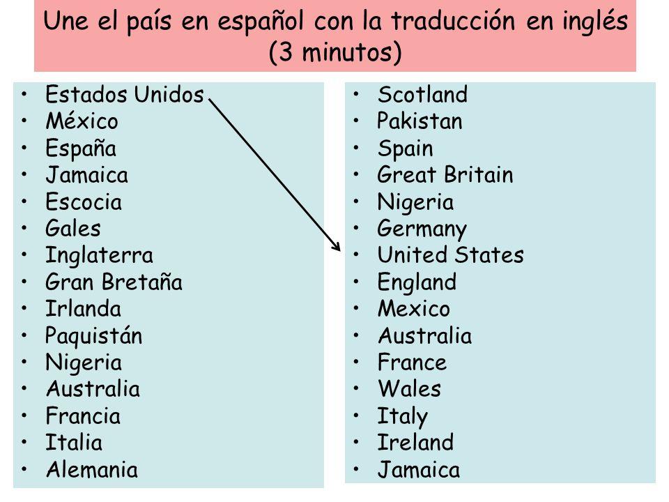Une el país en español con la traducción en inglés (3 minutos) Scotland Pakistan Spain Great Britain Nigeria Germany United States England Mexico Aust