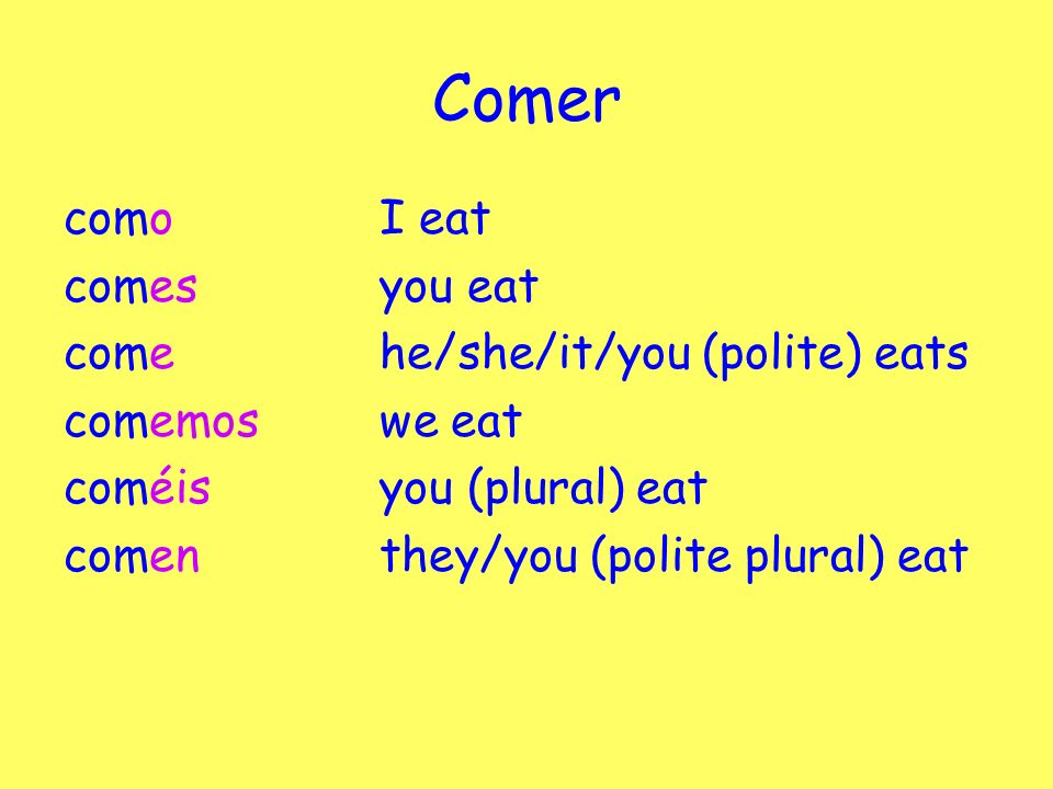 Comer comoI eat comesyou eat comehe/she/it/you (polite) eats comemoswe eat coméisyou (plural) eat comen they/you (polite plural) eat