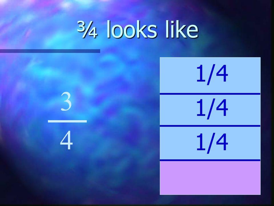 ¾ looks like 1/4 3 4