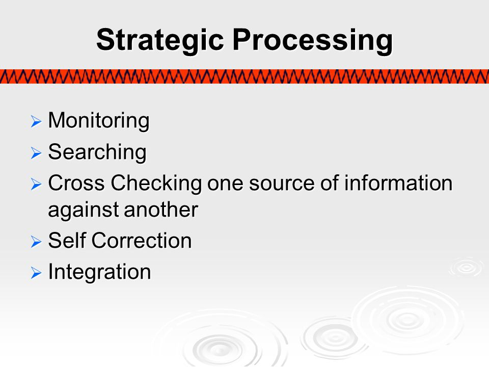 Strategic Processing Monitoring Monitoring Searching Searching Cross Checking one source of information against another Cross Checking one source of i