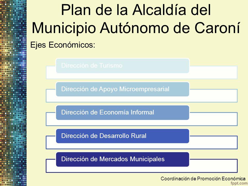 Plan de la Alcaldía del Municipio Autónomo de Caroní Ejes Económicos: Coordinación de Promoción Económica Dirección de TurismoDirección de Apoyo Micro