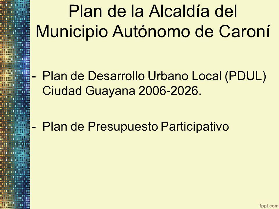 Plan de la Alcaldía del Municipio Autónomo de Caroní -Plan de Desarrollo Urbano Local (PDUL) Ciudad Guayana 2006-2026. -Plan de Presupuesto Participat