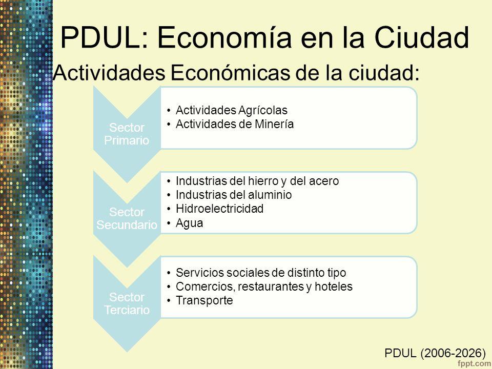 PDUL: Economía en la Ciudad Actividades Económicas de la ciudad: Sector Primario Actividades Agrícolas Actividades de Minería Sector Secundario Indust