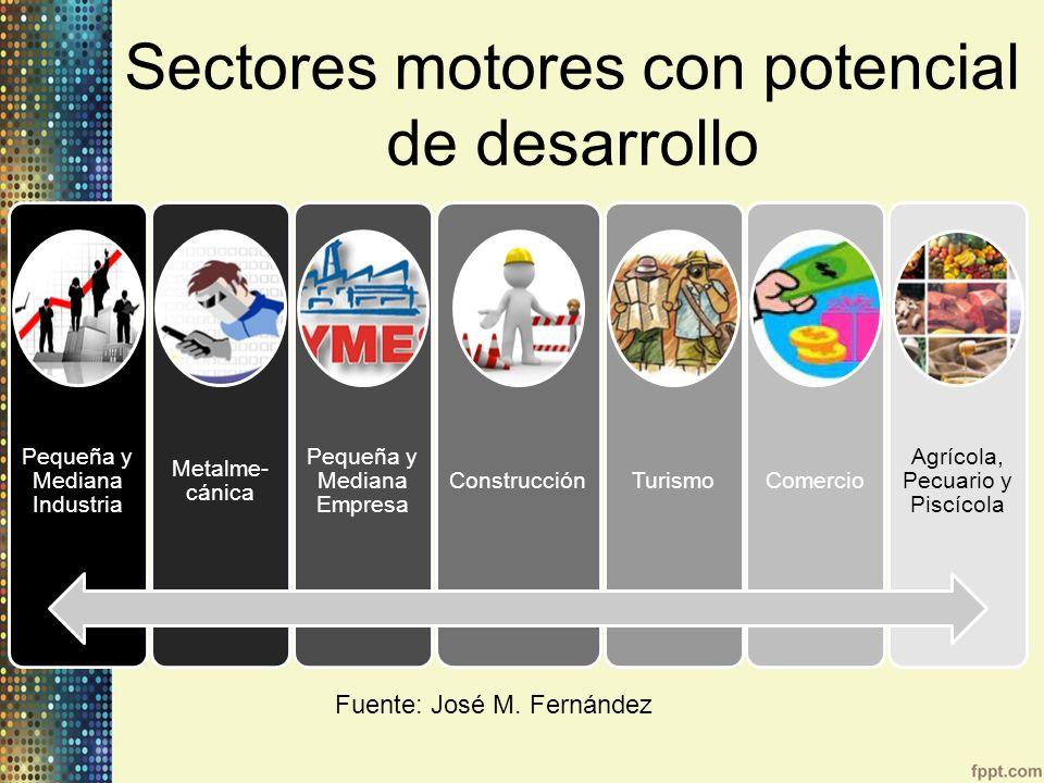 Pequeña y Mediana Industria Metalme- cánica Pequeña y Mediana Empresa ConstrucciónTurismoComercio Agrícola, Pecuario y Piscícola Fuente: José M. Ferná