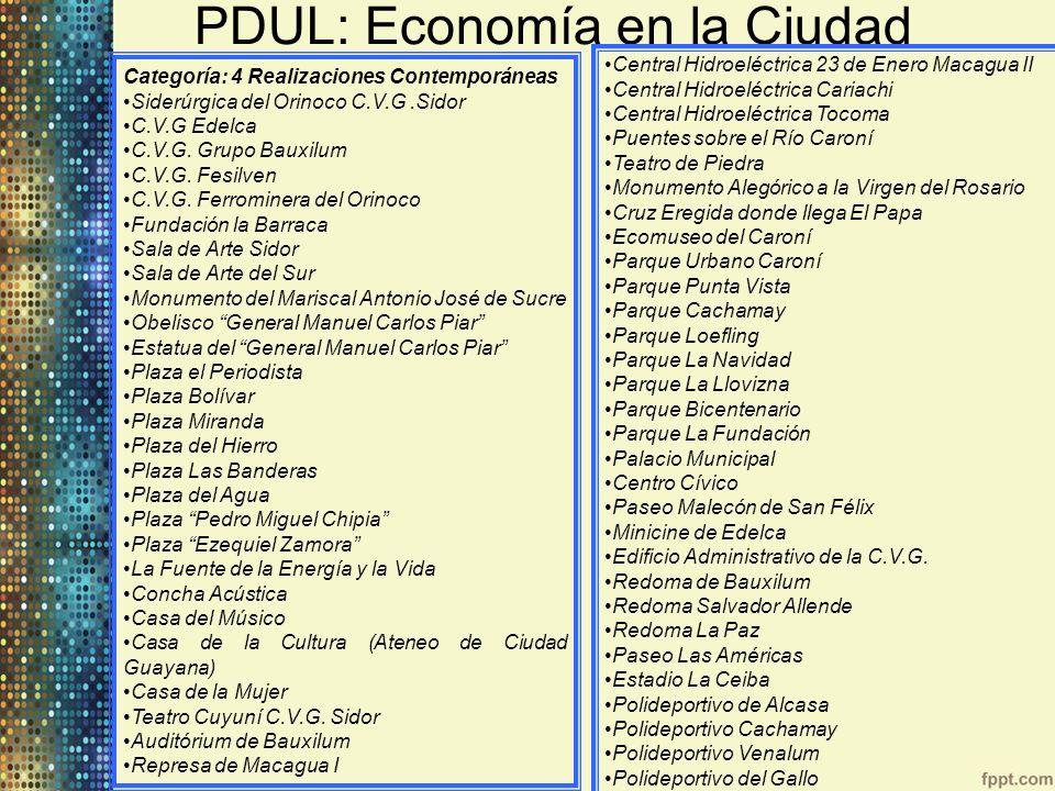 PDUL: Economía en la Ciudad Categoría: 4 Realizaciones Contemporáneas Siderúrgica del Orinoco C.V.G.Sidor C.V.G Edelca C.V.G. Grupo Bauxilum C.V.G. Fe