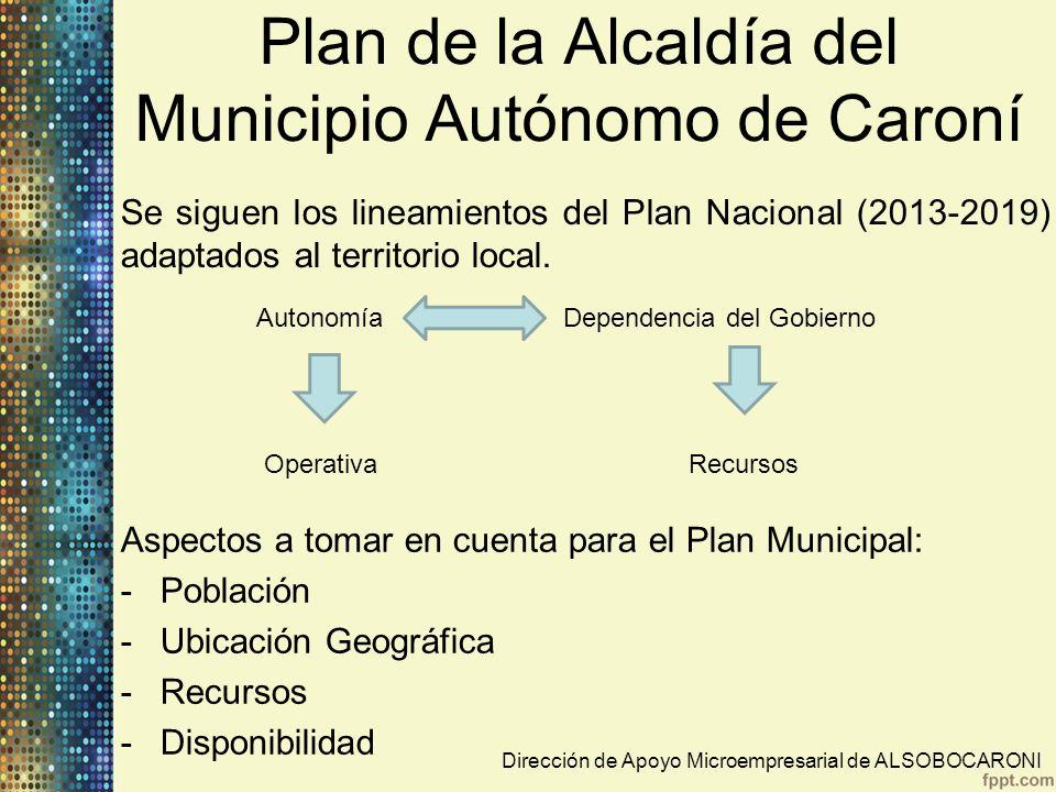 Plan de la Alcaldía del Municipio Autónomo de Caroní Estas oficinas solo prestan asesorías a cada uno de los sectores que conforman la Alcaldía y que los datos y estadísticas se manejan a través del INCE y SUNACOP.