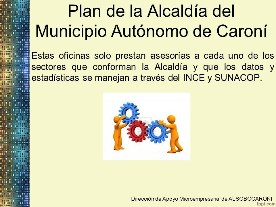 Plan de la Alcaldía del Municipio Autónomo de Caroní Ejes Económicos: Coordinación de Promoción Económica Dirección de TurismoDirección de Apoyo MicroempresarialDirección de Economía InformalDirección de Desarrollo RuralDirección de Mercados Municipales