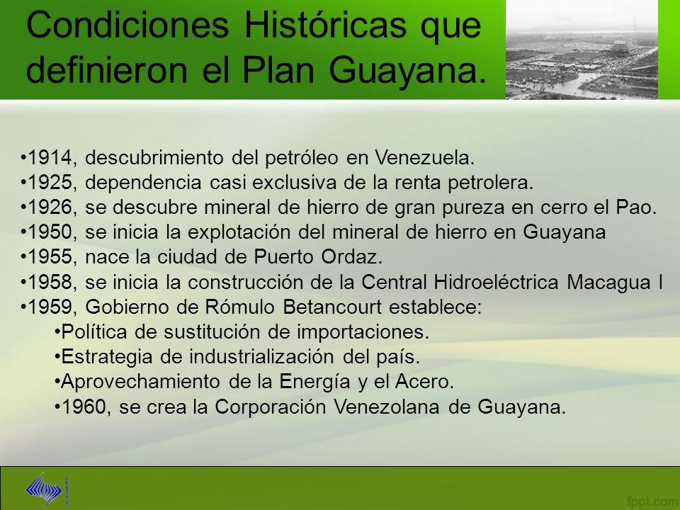 Condiciones Históricas que definieron el Plan Guayana. 1914, descubrimiento del petróleo en Venezuela. 1925, dependencia casi exclusiva de la renta pe