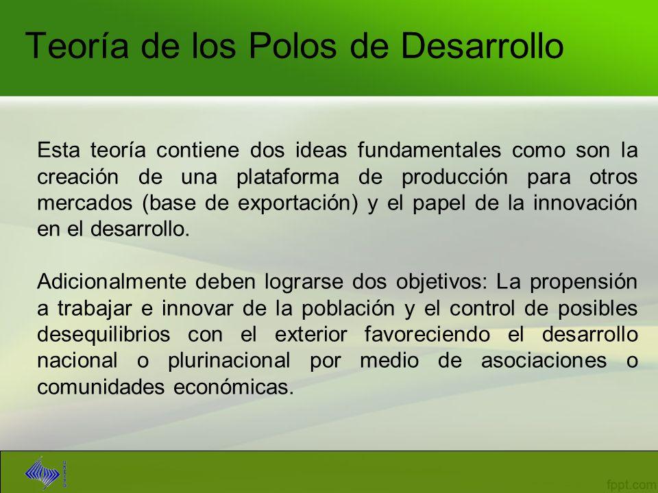 Teoría de los Polos de Desarrollo Esta teoría contiene dos ideas fundamentales como son la creación de una plataforma de producción para otros mercado