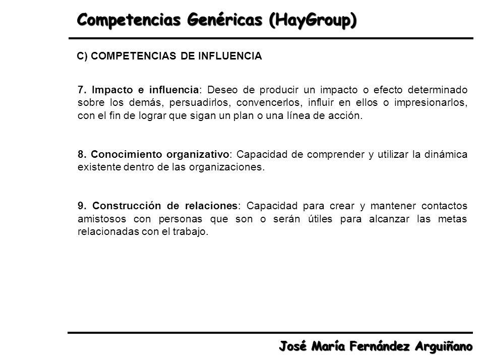 Competencias Genéricas (HayGroup) José María Fernández Arguiñano 7. Impacto e influencia: Deseo de producir un impacto o efecto determinado sobre los