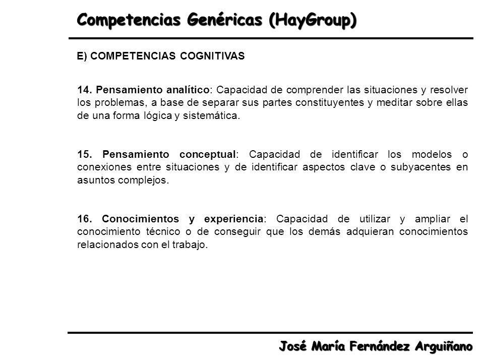 Competencias Genéricas (HayGroup) José María Fernández Arguiñano 14. Pensamiento analítico: Capacidad de comprender las situaciones y resolver los pro