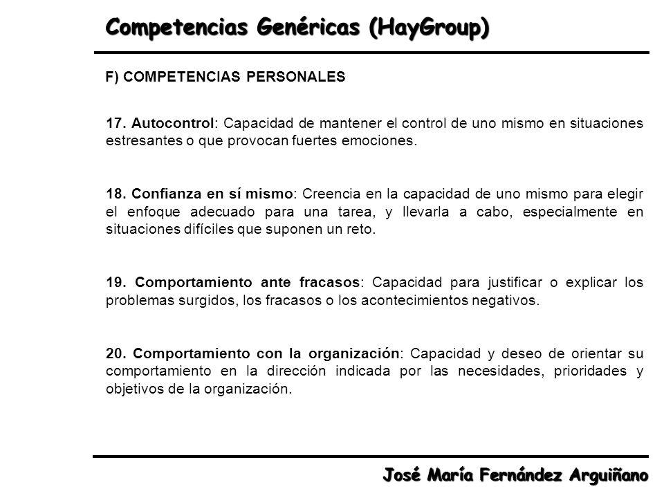 Competencias Genéricas (HayGroup) José María Fernández Arguiñano 17. Autocontrol: Capacidad de mantener el control de uno mismo en situaciones estresa