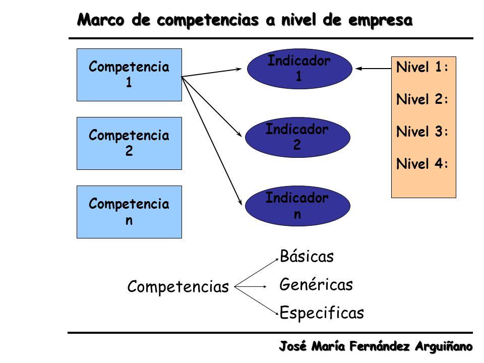 Marco de competencias a nivel de empresa José María Fernández Arguiñano Competencia 1 Competencia 2 Competencia n Indicador 1 Indicador 2 Indicador n
