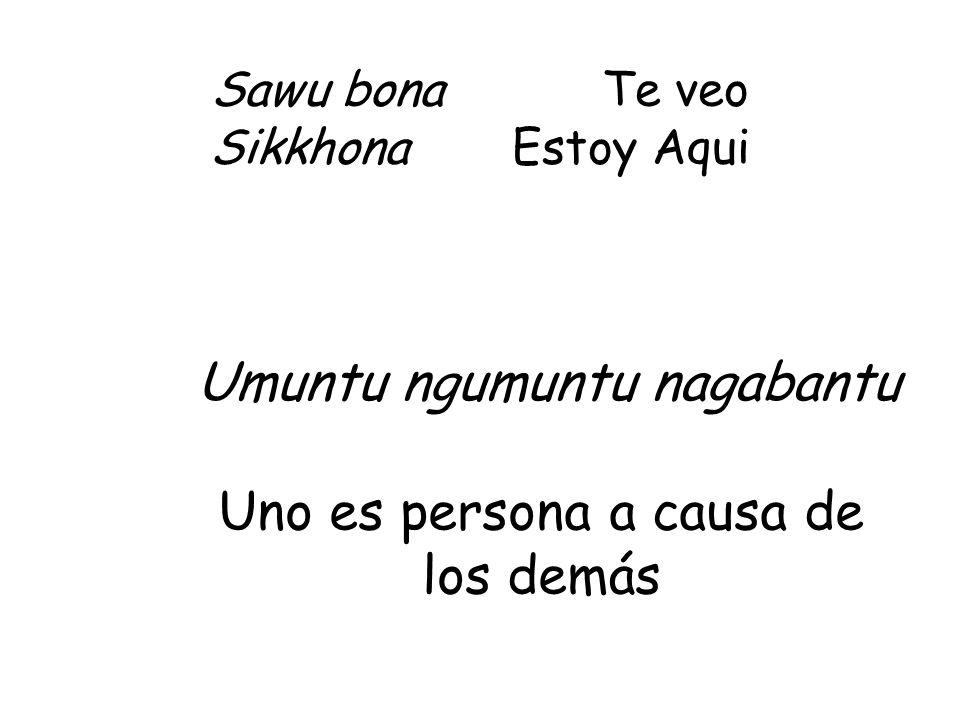 Sawu bona Te veo Sikkhona Estoy Aqui Umuntu ngumuntu nagabantu Uno es persona a causa de los demás