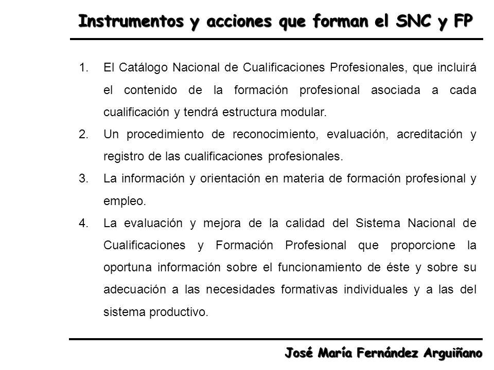 Instrumentos y acciones que forman el SNC y FP José María Fernández Arguiñano 1.El Catálogo Nacional de Cualificaciones Profesionales, que incluirá el