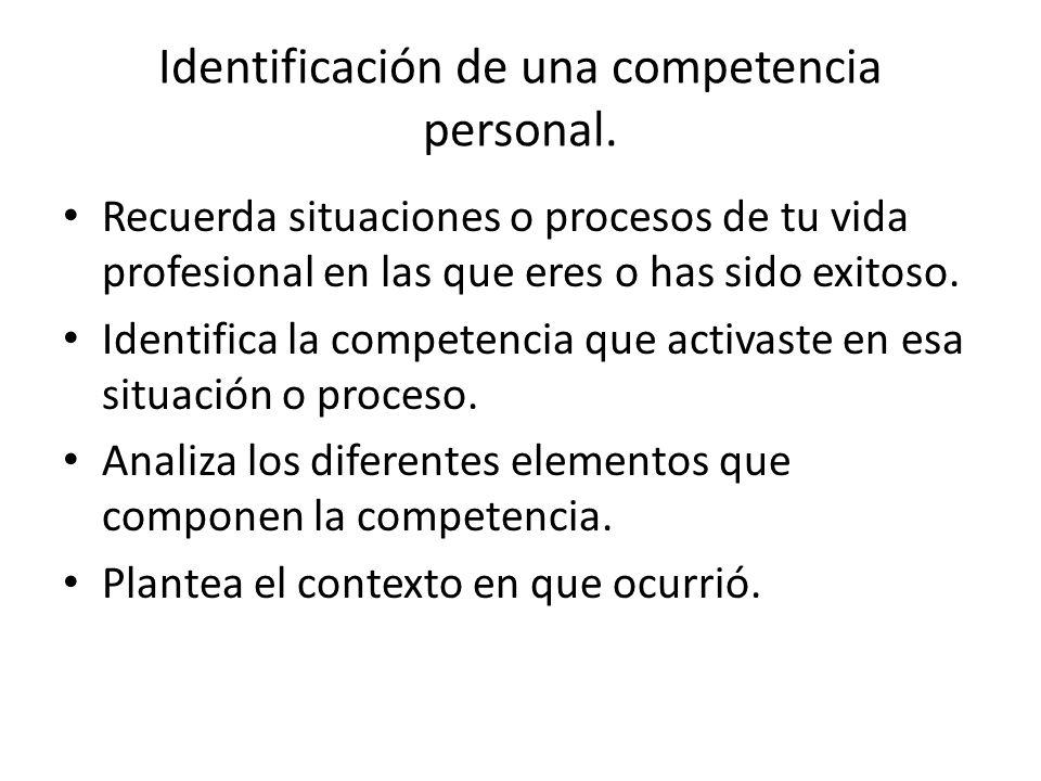 Identificación de una competencia personal. Recuerda situaciones o procesos de tu vida profesional en las que eres o has sido exitoso. Identifica la c