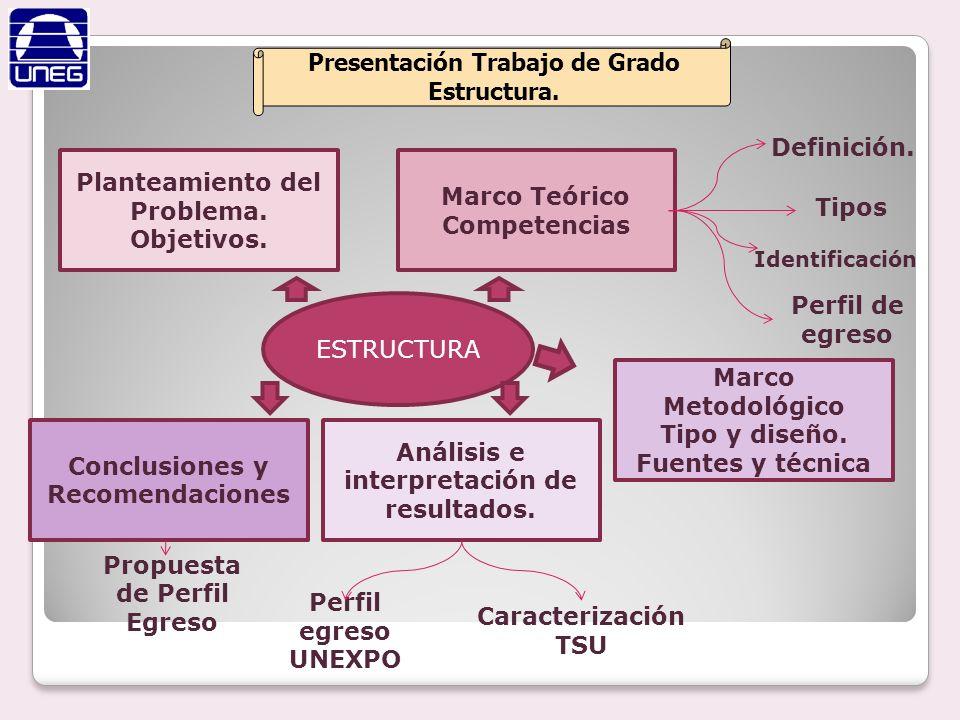 Presentación Trabajo de Grado Estructura. Planteamiento del Problema. Objetivos. ESTRUCTURA Marco Teórico Competencias Definición. Tipos Perfil de egr