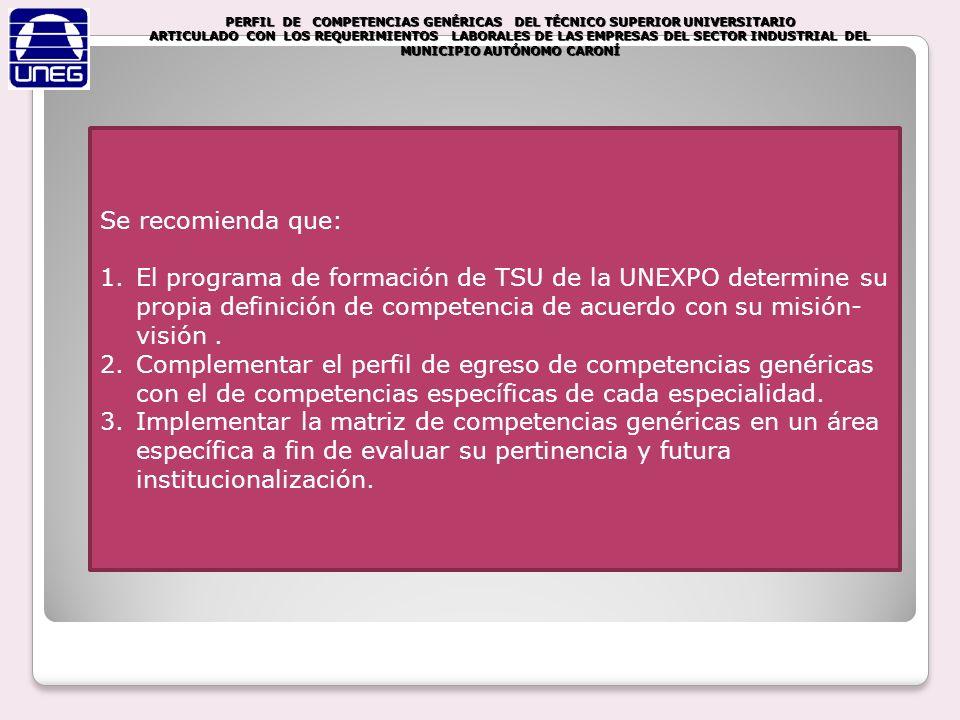 Se recomienda que: 1.El programa de formación de TSU de la UNEXPO determine su propia definición de competencia de acuerdo con su misión- visión. 2.Co