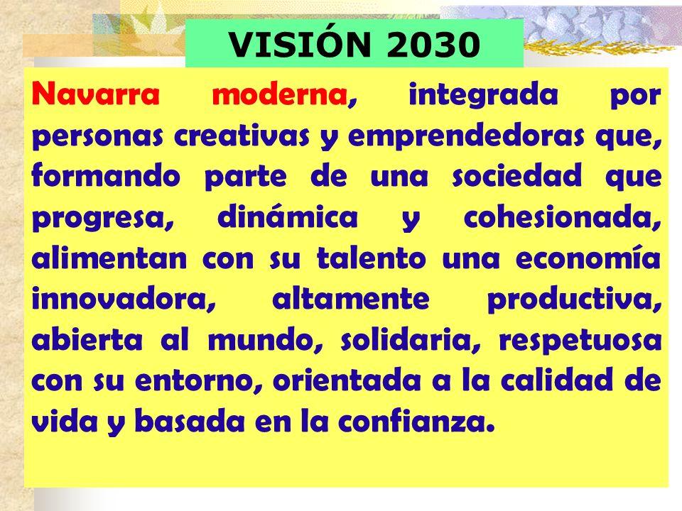VISIÓN 2030 Navarra moderna, integrada por personas creativas y emprendedoras que, formando parte de una sociedad que progresa, dinámica y cohesionada